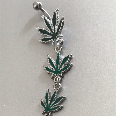 3 weed leaf belly ring