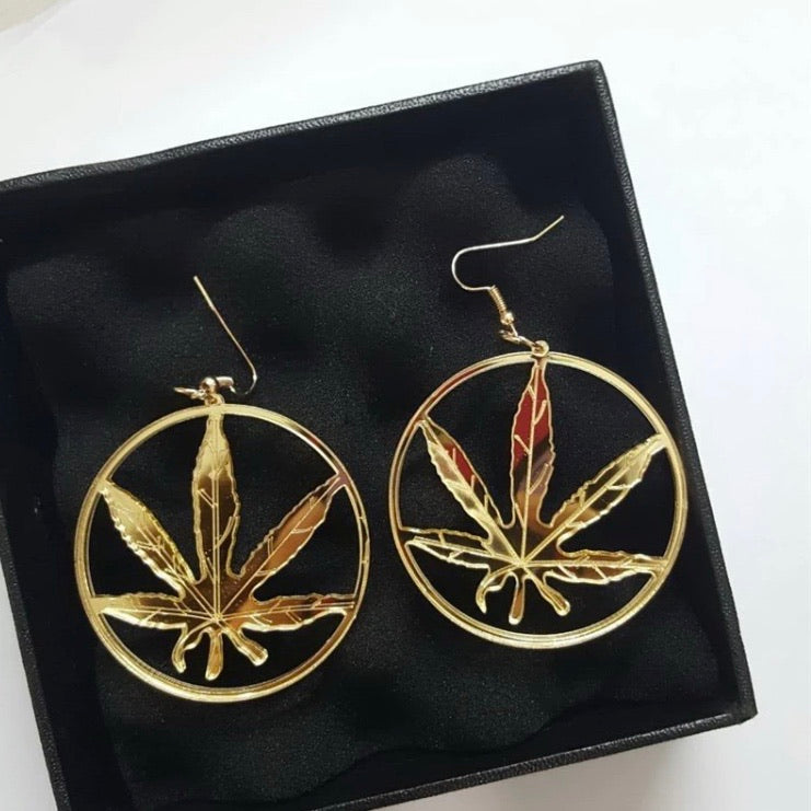 Weed Leaf Hoop Earrings
