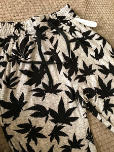 Grey Ganja Leaves Joggers