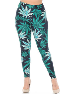 Weed Leaf Soft Leggings (Plus Size)