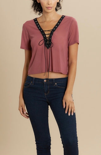 Mesh Lace Up Crop Top - 2 Colors