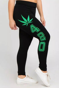 420 Weed Leaf Legggings Plus Size