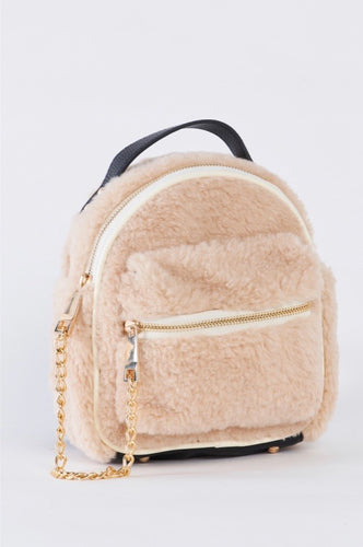 Pink Fluff Chained Backpack