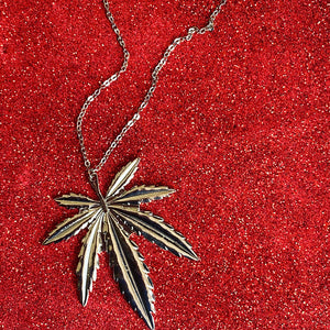 Silver Ganja Leaf Necklace