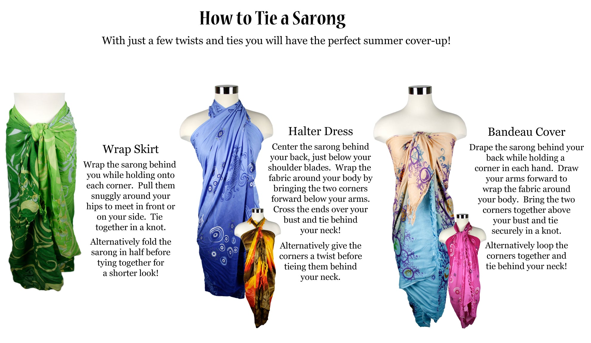 How to tie a sarong in 5 different ways.