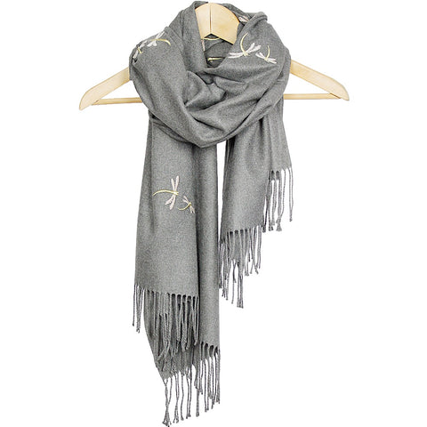 Grey Dragonfly Embroidered Cashmere Scarf/Shawl