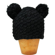 Black Koda Double Pom-Pom Hat