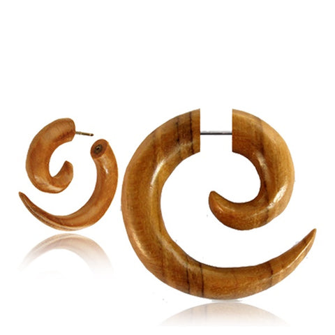 Teak Spiral Faux Gauge Earrings