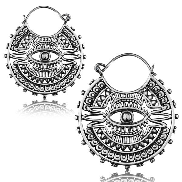 Third Eye White Brass Earrings