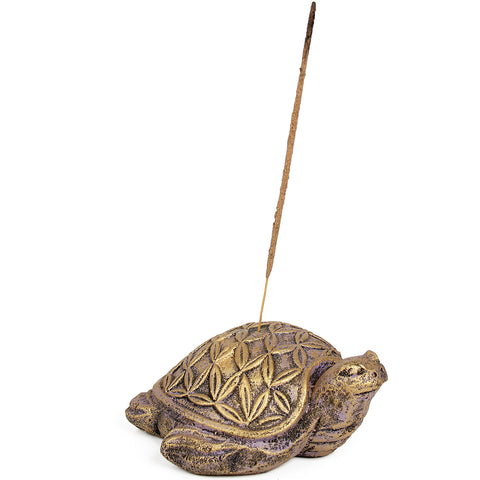 Flower of Life Turtle Volcanic Stone Incense Holder