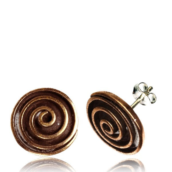 Energy Spiral Rose Bronze Ear Stud