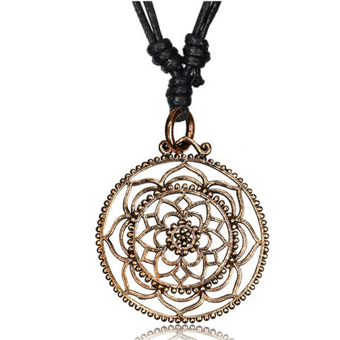 Copper Lotus Flower Mandala Necklace