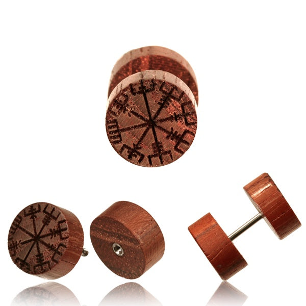 Helm of Awe Rose Wood Faux Plug Earrings