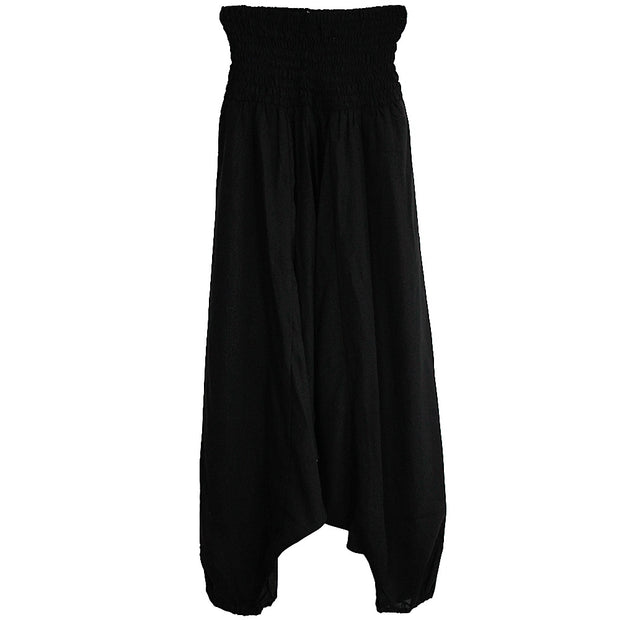 Midnight Black Moss Crepe Harem Pant