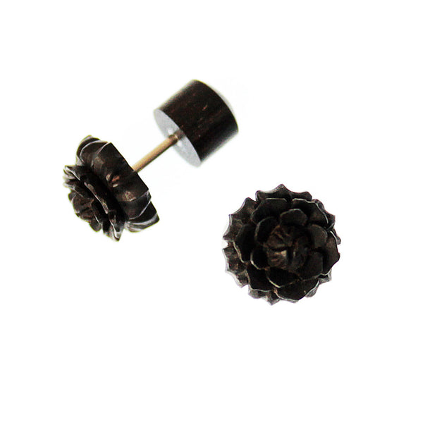 Black Rose Faux Plug Earrings