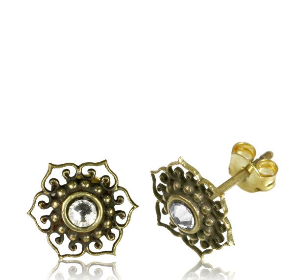 Cubic Zirconia Tribal Brass Ear Stud