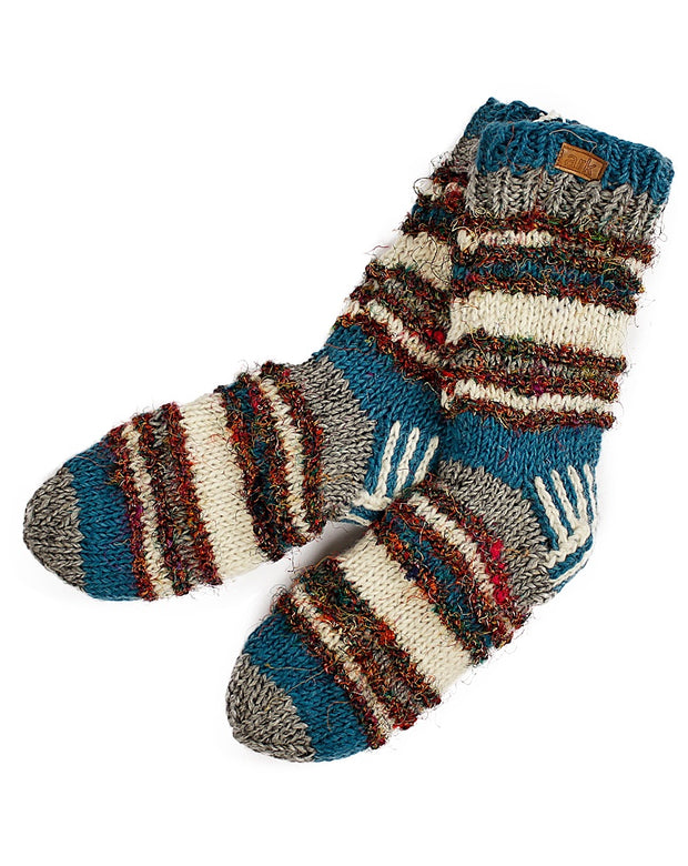 Teal & White Swool Stripe Socks