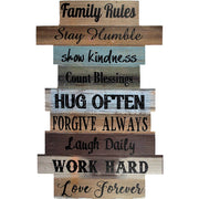 Family Rules Staggered Slat Wood Sign