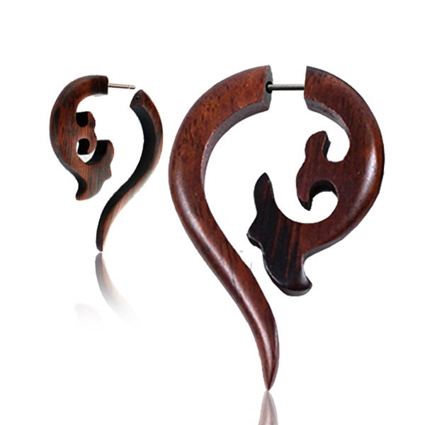 Brown Birds In Flight Faux Gauge Earrings
