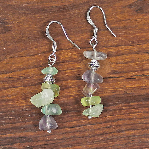 Rainbow Fluorite Chip Earrings