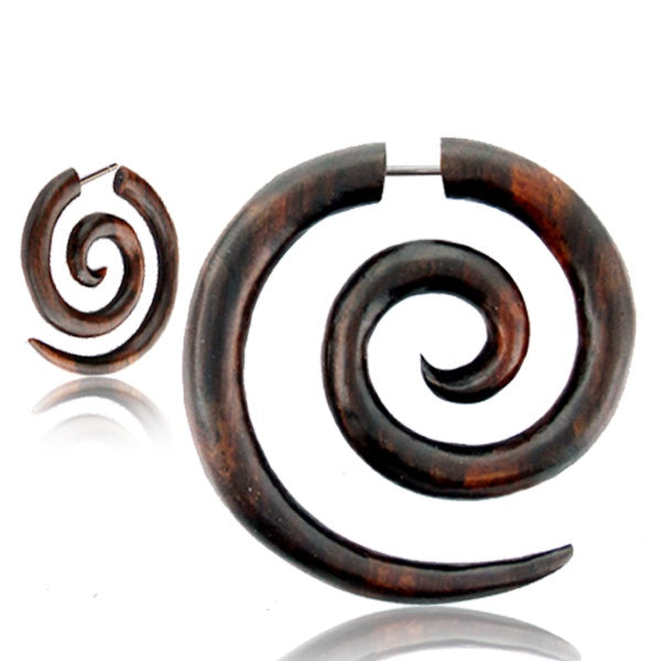 Super Spiral Narra Wood Faux Gauge Earrings