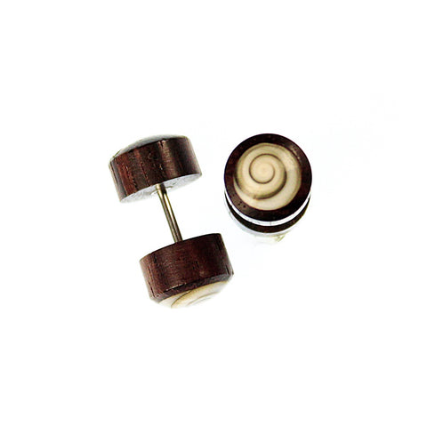 Shell Spiral Wood Faux Plug Earrings