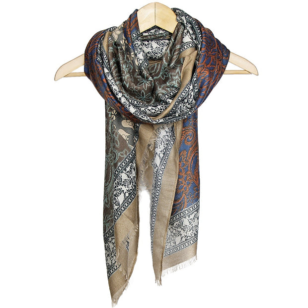 Taupe Floral Printed Scarf