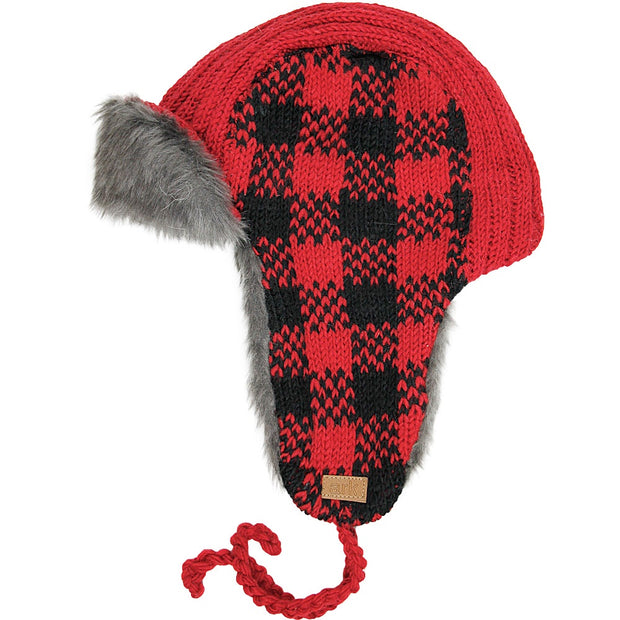 Red Check Whistler Aviator Hat