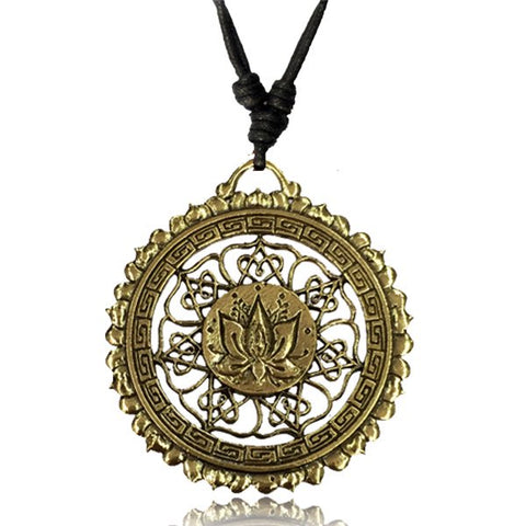 Lotus Mandala Brass Necklace