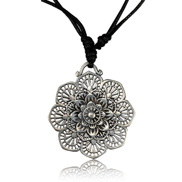 Flower Lace Mandala White Brass Pendant Necklace