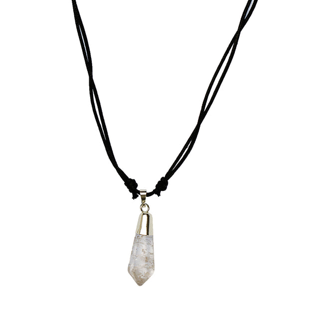 Clear Quartz Polished Pendant Necklace