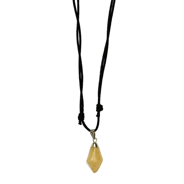 Citrine Polished Point Pendant Necklace