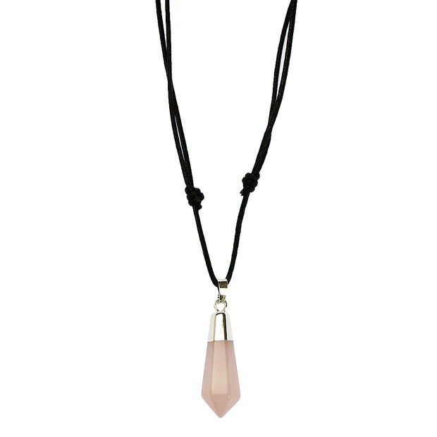 Rose Quartz Polished Point Pendant Necklace