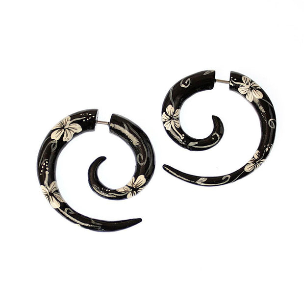Midnight Flowers Spiral Faux Gauge Earrings