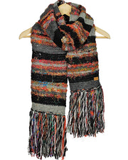 Black Swool Stripe Scarf