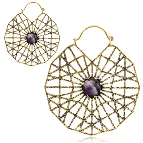Amethyst Webbed Brass Earrings