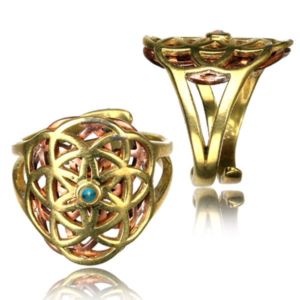 Flower of Life Brass & Copper Adjustable Ring