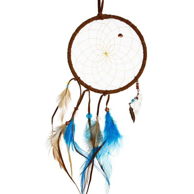 Brown & Turquoise Dream Catcher With Crystals 4""