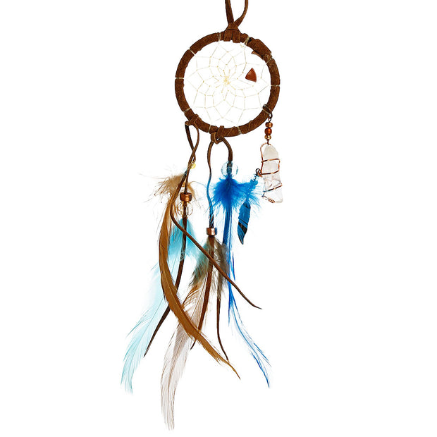 Brown & Turquoise Dream Catcher With Crystals 2""