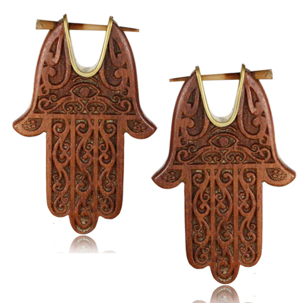 Hamsa Hand Sawo Wood & Brass Hoop & Stick Earrings