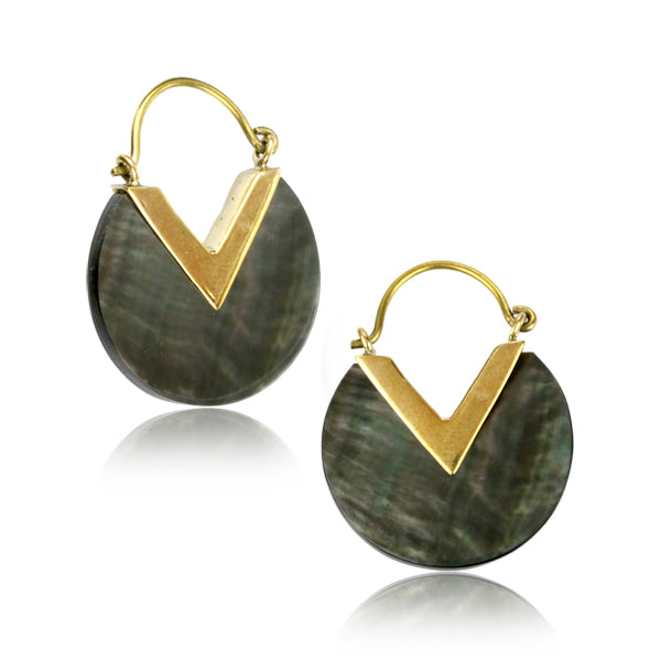 Black Mother of Pearl & Brass Earrings