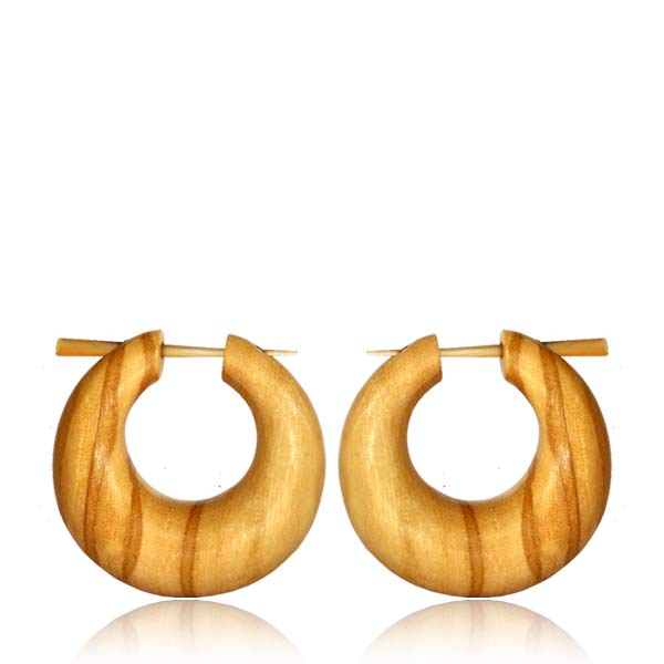 Large Olive Wood Hoop & Stick Earrings
