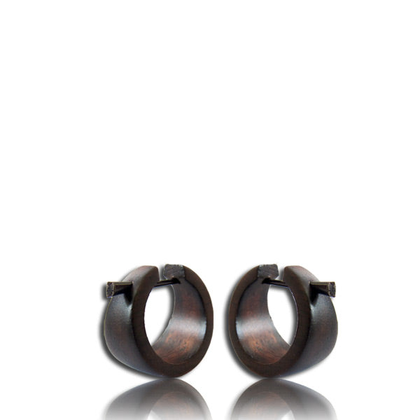 Mini Narra Wood Hoop & Stick Earrings