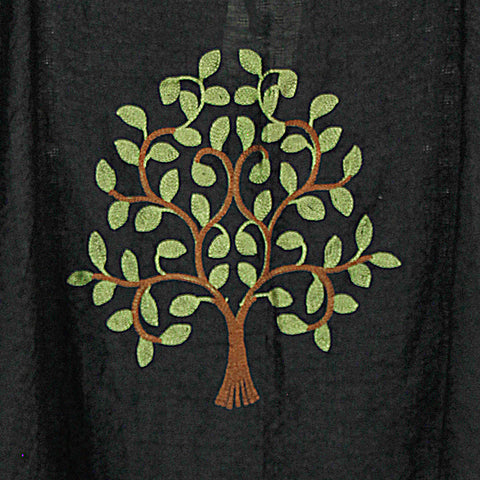 Black Embroidered Tree of Life Go With The Flow Top