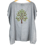 Blue Embroidered Tree of Life Go With The Flow Top