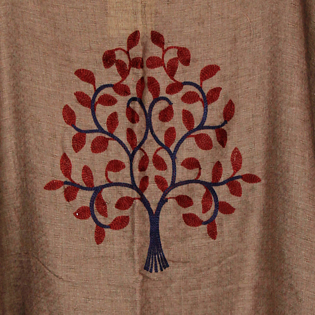 Brown Embroidered Tree of Life Go With The Flow Top