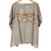 Grey Embroidered Tribal Print Go With The Flow Top