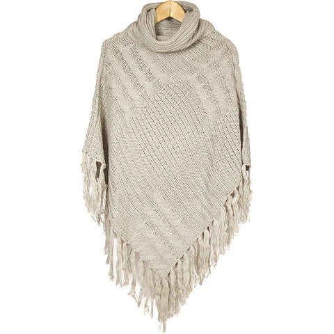 Off White Cowl Neck Fringe Poncho