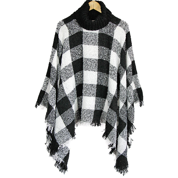 Black & White Loose Neck Fringe Poncho