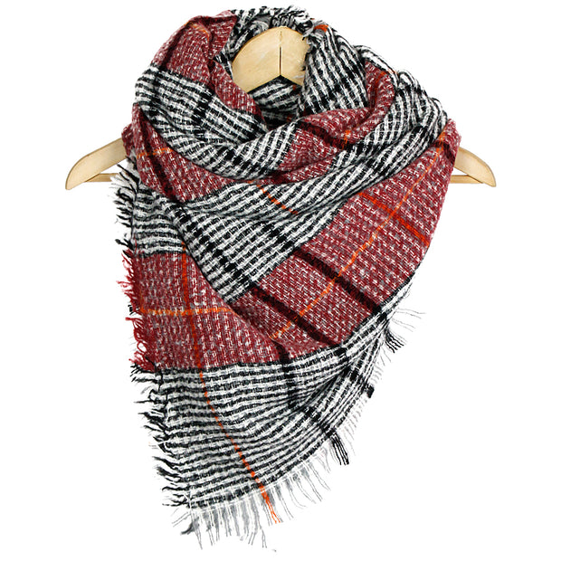 Burgundy Woven Plaid Patterned Blanket Scarf